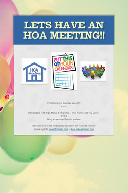 Lets have an HOA meeting!!
