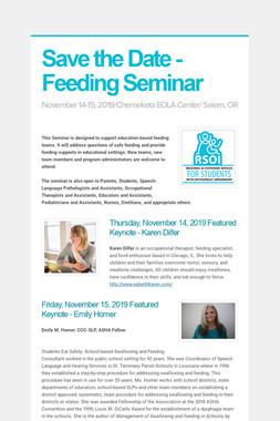 Save the Date - Feeding Seminar