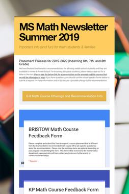 MS Math Newsletter Summer 2019