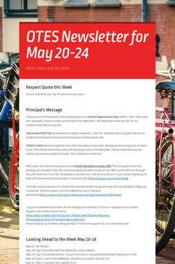 OTES Newsletter for May 20-24