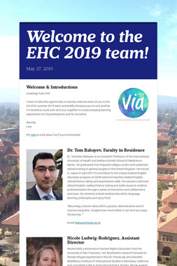 Welcome to the EHC 2019 team!