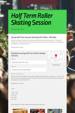 Half Term Roller Skating Session