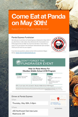 Come Eat at Panda on May 30th!