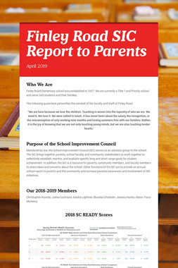 Finley Road SIC Report to Parents
