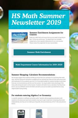 HS Math Summer Newsletter 2019