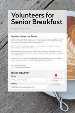 Volunteers for Senior Breakfast