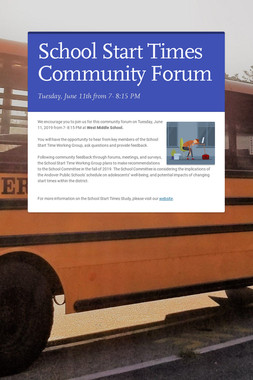 School Start Times Community Forum