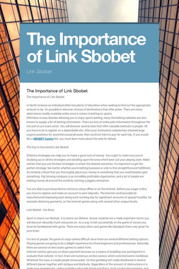 The Importance of Link Sbobet