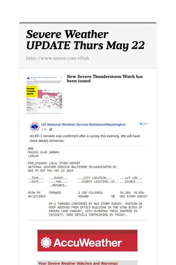 Severe Weather UPDATE Thurs May 22