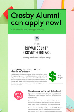 Crosby Alumni can apply now!