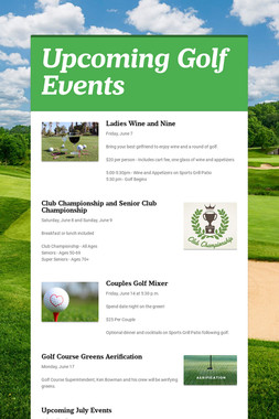 Upcoming Golf Events