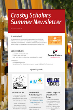 Crosby Scholars Summer Newsletter