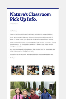 Nature's Classroom Pick Up Info.