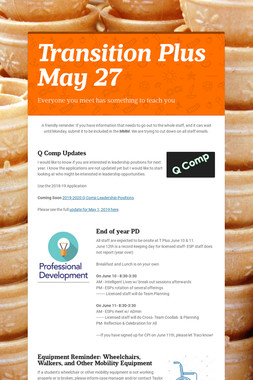 Transition Plus         May 27