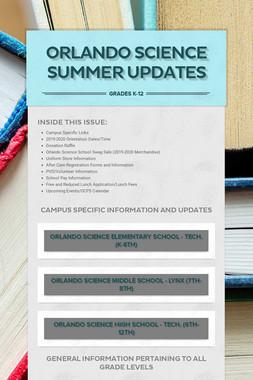 Orlando Science Summer Updates