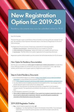 New Registration Option for 2019-20