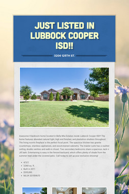 Just Listed In Lubbock Cooper ISD!!