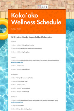 Kakaʻako Wellness Schedule