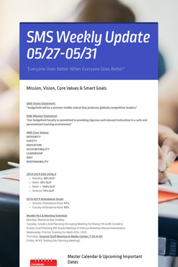 SMS Weekly Update 05/27-05/31