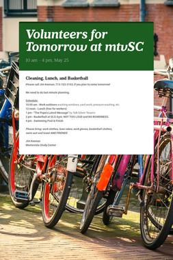 Volunteers for Tomorrow at mtvSC