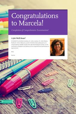 Congratulations to Marcela!