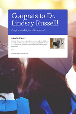 Congrats to Dr. Lindsay Russell!