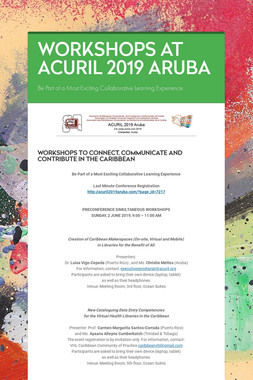 WORKSHOPS AT ACURIL 2019 ARUBA