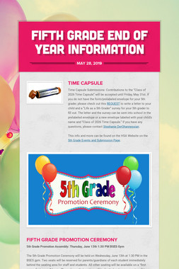 Fifth Grade End of Year Information
