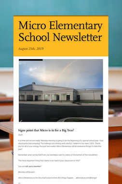 Micro Elementary School Newsletter