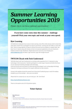 Summer Learning Opportunities 2019