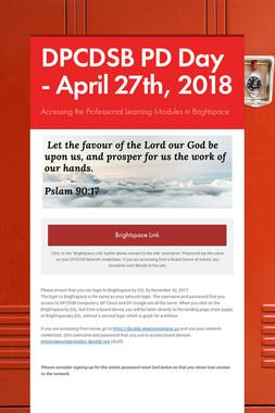 DPCDSB PD Day - April 27th, 2018