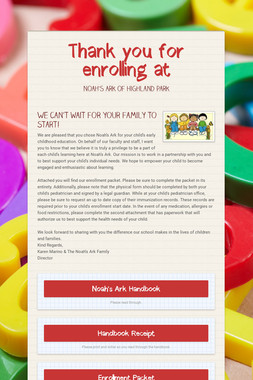 Thank you for enrolling at
