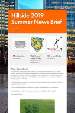 Hillside 2019 Summer News Brief