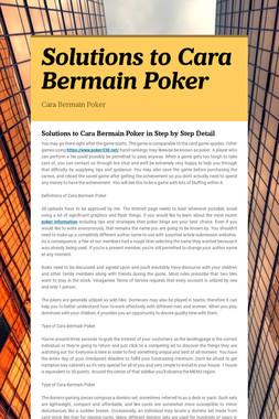 Solutions to Cara Bermain Poker