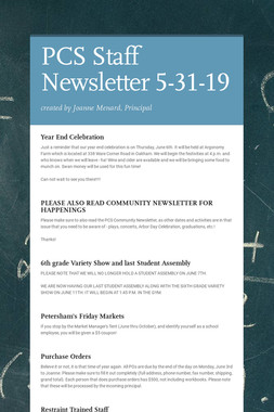 PCS Staff Newsletter 5-31-19