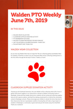 Walden PTO Weekly June 7th, 2019