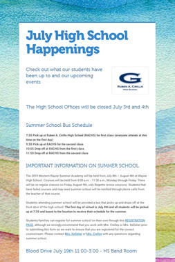 July High School Happenings