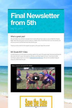Final Newsletter from 5th