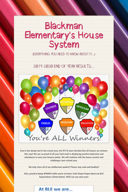 Blackman Elementary's House System