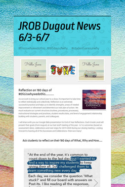 JROB Dugout News            6/3-6/7