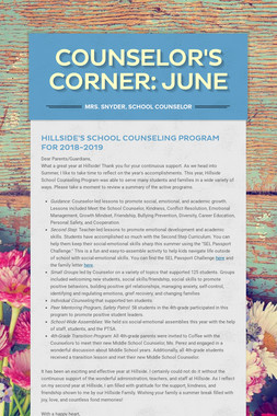 Counselor's Corner: June
