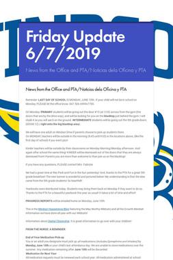 Friday Update 6/7/2019