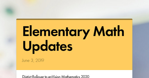 Elementary Math Updates | Smore Newsletters for Education