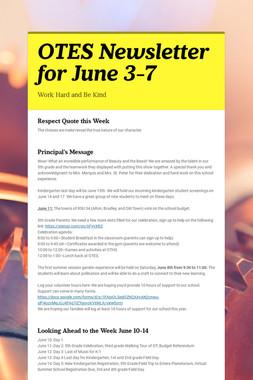 OTES Newsletter for June 3-7