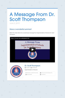 A Message From Dr. Scott Thompson