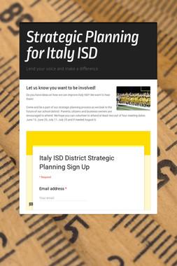 Strategic Planning for Italy ISD