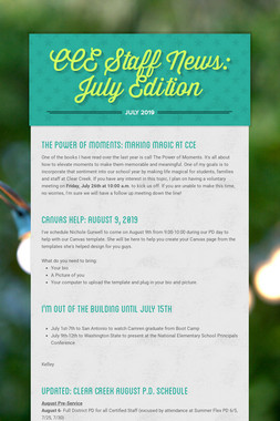 CCE Staff News: July Edition