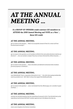 AT THE ANNUAL MEETING ...