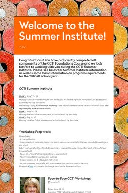 Welcome to the Summer Institute!