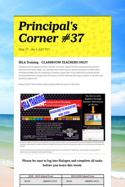 Principal's Corner #37